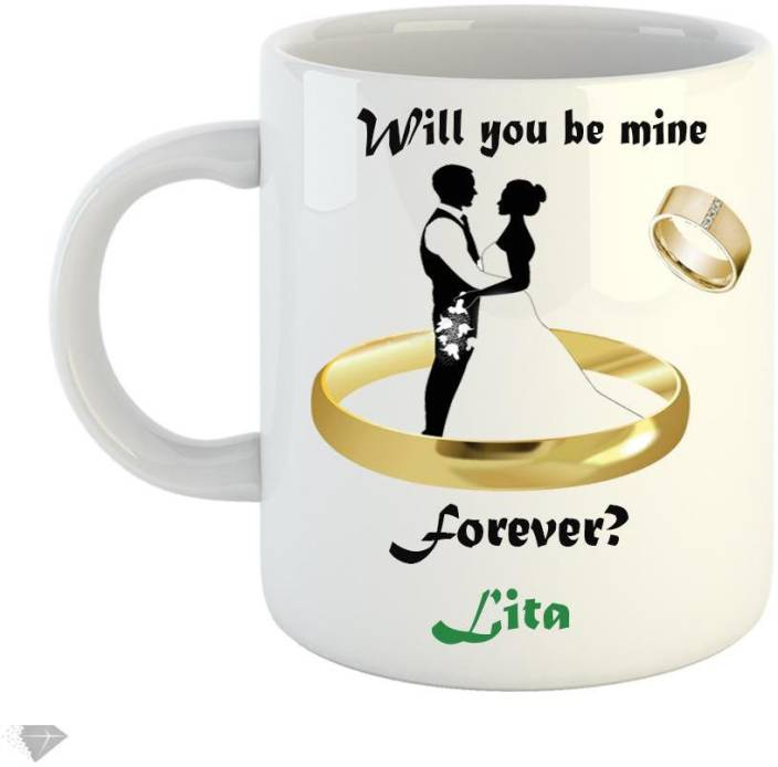 LOLPRINTT Will you be min forever Lita 350 ml white ceramic mug Ceramic Mug