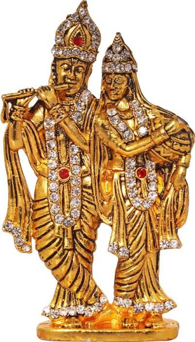 Art N Hub Lord Radha Krishna / Radhey Krishan Couple Idol God Statue Gift Showpiece  -  8 cm