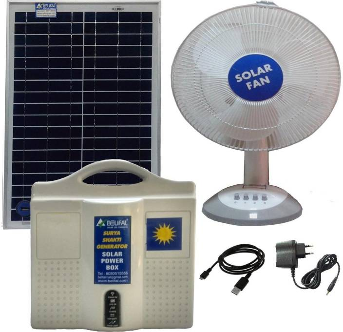 Belifal Solar Home Lighting System with Table Fan, 25W Panel