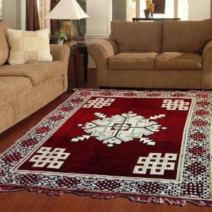 Furnishhut Maroon Chenille Carpet 150 Cm X 210