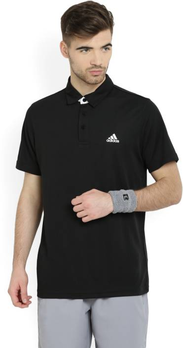 30bdbdd7 ADIDAS Solid Men's Polo Neck Black T-Shirt - Buy BLACK/WHITE ADIDAS Solid  Men's Polo Neck Black T-Shirt Online at Best Prices in India | Flipkart.com