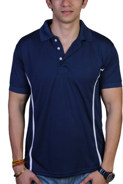 EPG Solid Men's Polo Neck Dark Blue T-Shirt