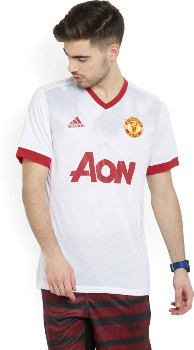 b7fbf1ad75d ADIDAS Manchester United Applique Men s V-neck White T-Shirt - Buy  WHITE REARED ADIDAS Manchester United Applique Men s V-neck White T-Shirt  Online at Best ...