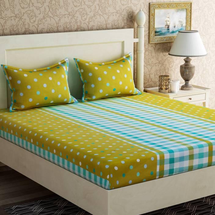 Zesture Cotton Polka Double Bedsheet