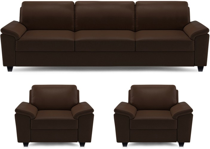Dolphin Oxford Leatherette 3 1 1 Brown Sofa Set Price in India