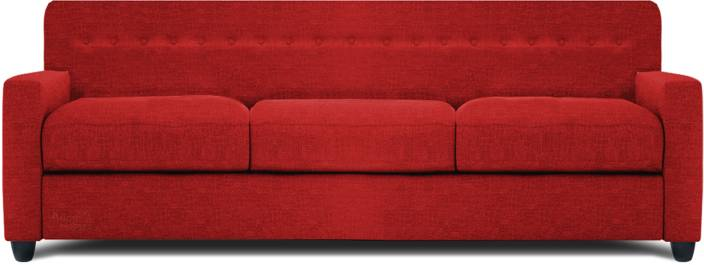 Dolphin Solitaire Fabric 3 + 1 + 1 Red Sofa Set