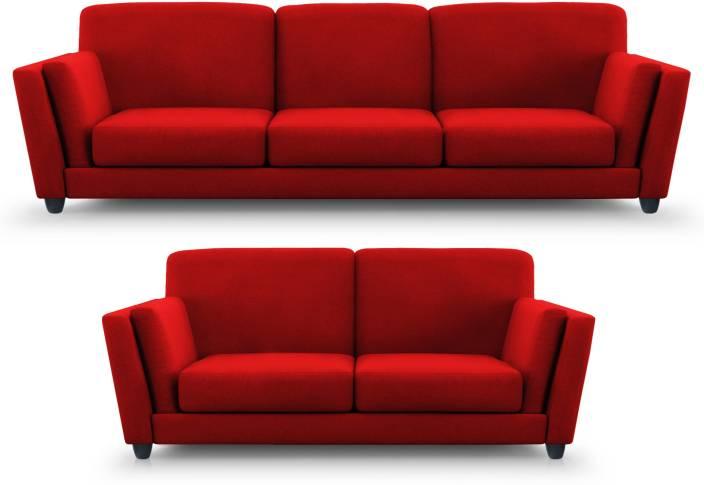 Dolphin Cabana Fabric 3 + 2 Red Sofa Set