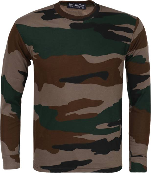 Zacharias Military Camouflage Men Round Neck Multicolor T Shirt