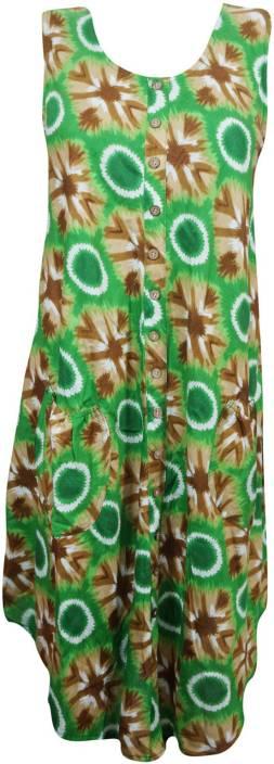 Indiatrendzs Women's A-line Green Dress