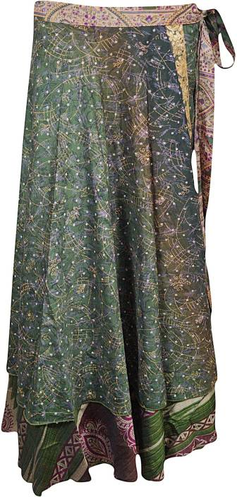 Indiatrendzs Printed Women's Wrap Around Green Skirt