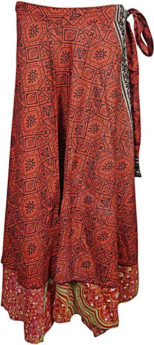 Indiatrendzs Printed Women's Wrap Around Red Skirt