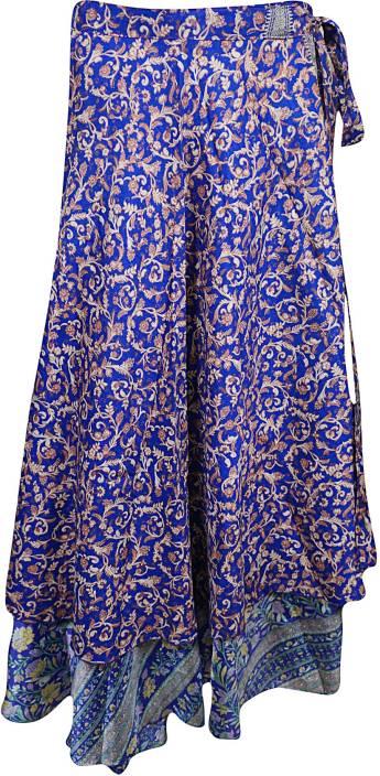 Indiatrendzs Floral Print Women's Wrap Around Purple Skirt