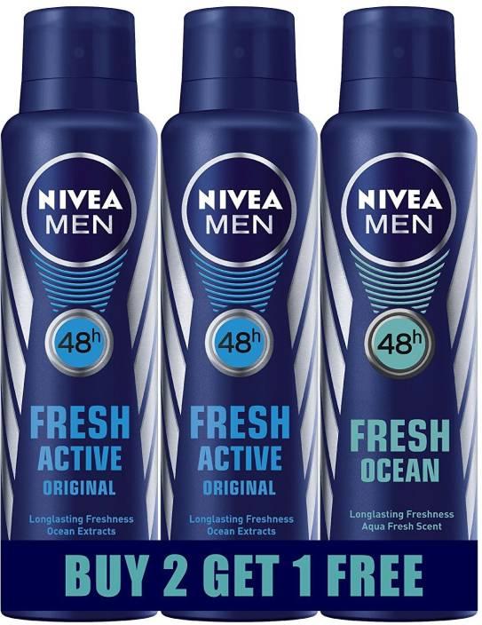 Nivea FRESH ACTIVE (BUY 2 GET 1 FREE) Body Spray  -  For Men & Women