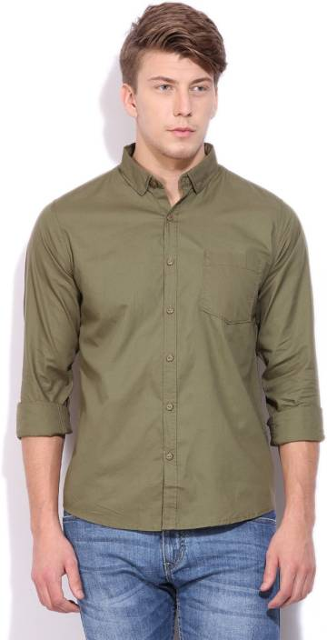 3991daa0e Pepe Jeans Men's Solid Casual Green Shirt - Buy OLIVE Pepe Jeans Men's  Solid Casual Green Shirt Online at Best Prices in India | Flipkart.com