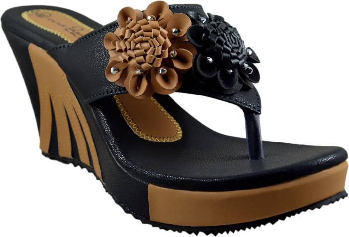 1dc21a2b1a2 Olive Fashion Women Black Wedges - Buy Black Color Olive Fashion Women  Black Wedges Online at Best Price - Shop Online for Footwears in India