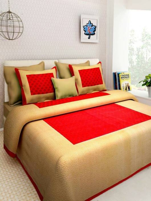 Jaipuri cotton 350 TC Cotton Double King Printed Bedsheet (1 double Bedsheet with 2 pillow cover, Multicolor)