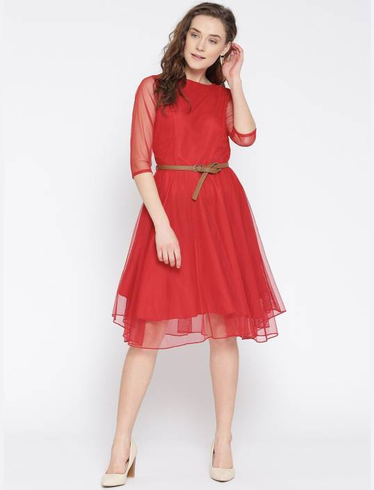 1ea7310358bc U&F Women's A-line Red Dress - Buy U&F Women's A-line Red Dress Online at  Best Prices in India | Flipkart.com