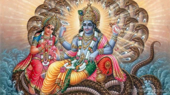 Laxmi Ji Vishnu Ji Narayan Hd Wallpaper On Art Paper Fine Art Print