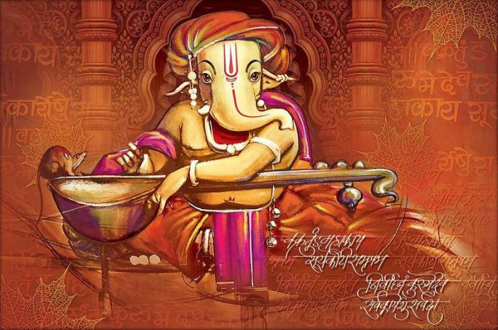 Ganesh Ji Wall Painting Hd Wallpaper On Art Paper Fine Art Print