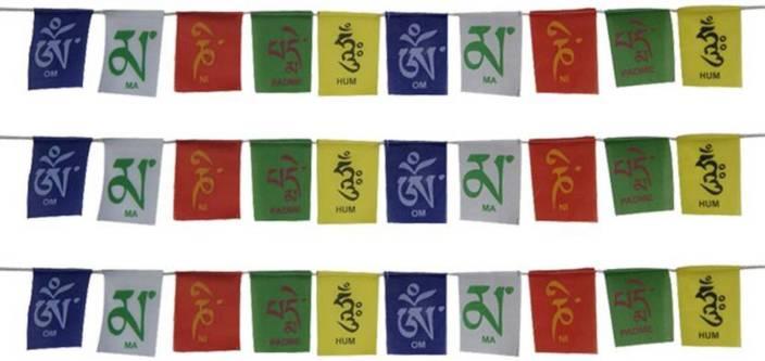 SAI SHOP Buddhist Tibetan Prayer MANTRAS Flag OM Mani Padme Royal Enfield  Emblem