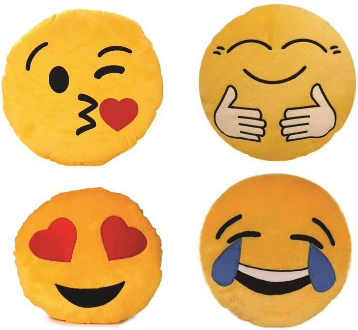 Skylofts Pack of Hug Me Tight, Kissing Emoji, Laughing Smiley, Heart Eyes  Pillow Cushions - 38 cm