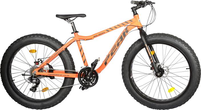 Atlas Peak Big Boss DDB 26 Inches 21 Speed Black &Orange 26 T Fat Tyre Cycle (21 Gear, Multicolor)
