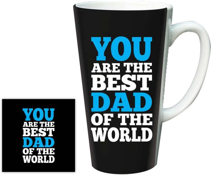 Giftsmate Birthday Gifts For Dad From Daughter Worlds Best Latte With Coaster Ceramic Mug 502 Ml Pack Of 2