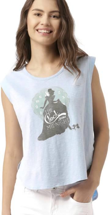 Dressberry Printed Women's Round Neck Blue T-Shirt