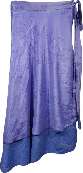 Indiatrendzs Printed Women's Wrap Around Purple Skirt