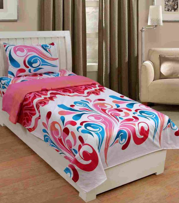 Web India International 144 TC Cotton Single Printed Bedsheet