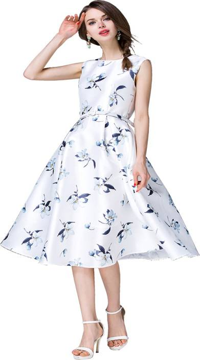e1a024e4fa79 Fashion Surat Women s Fit and Flare White Dress - Buy Fashion Surat Women s  Fit and Flare White Dress Online at Best Prices in India