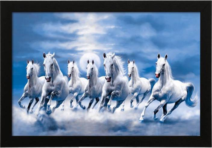 fantasy gifts vastu seven horse - white digital reprint 12 inch x 18