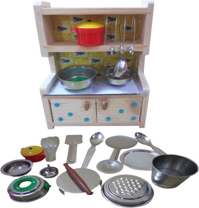 Dcs Kids Stainless Steel Toy Kitchen Set With Fancy Wooden Stand