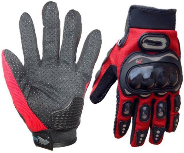 ShoppingKiSite Impact Resistant Hard Knuckle Tactical Motorcycle Bike  Riding Shockproof Outdoor Full Finger Red Medium Gloves for Men Riding  Gloves