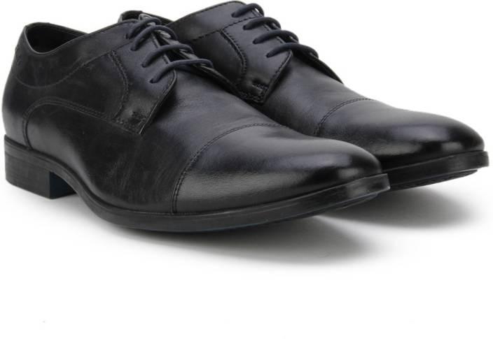 Clarks Banfield Cap Black Leather Lace Up For Men