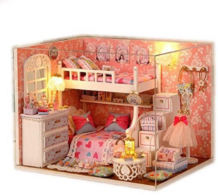 Saffire Wood Dollhouse Miniature Diy Kit Dolls House Room With Cover