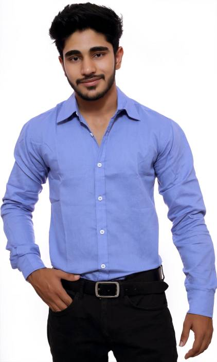 deeksha Men Solid Casual Light Blue Shirt - Buy deeksha Men Solid ...