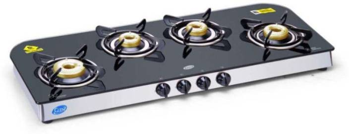 cebdb38827269f Glen 4 Burner Glass Cooktop 1049 GT Forged Brass Burner Auto Ignition Glass  Automatic Gas Stove