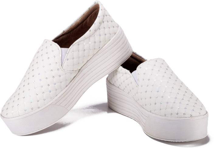 a97f253b82 Bella Toes Designer shoes for Women - Loafers and Mocassins - White Fabric  Slip ons Casual Shoes for girls and Women Slip On Sneakers For Women