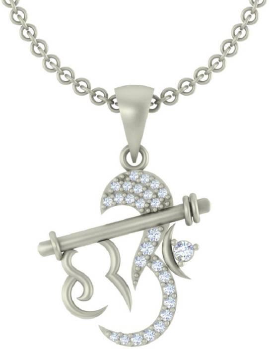 ce61c8423ca7b Kanak Jewels Designer Hari Om Rhodium Cubic Zirconia Brass Pendant Price in  India - Buy Kanak Jewels Designer Hari Om Rhodium Cubic Zirconia Brass  Pendant ...