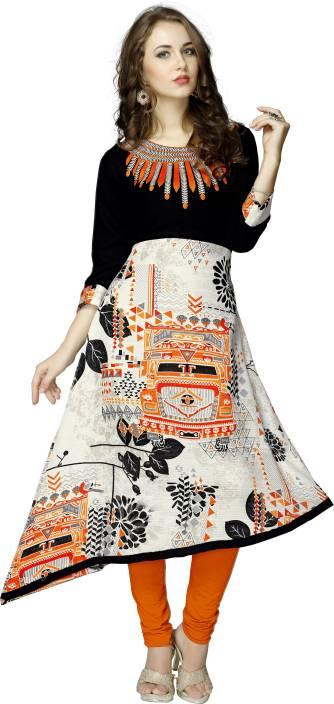 Elevate Women Embroidered, Floral Print Women's Trail Cut Kurta