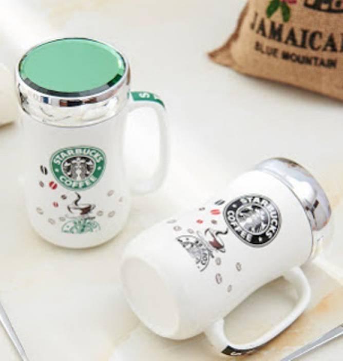 Starbucks Coffee With Lid Set Of 2 Ceramic Mug
