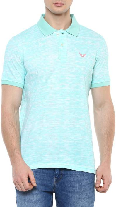 Urban Eagle by Pantaloons Printed Men Polo Neck Light Blue T-Shirt