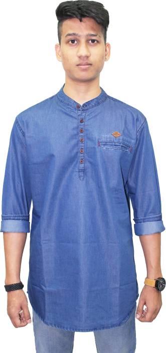 ec4c7171583 Kuons Avenue Men Solid Straight Kurta - Buy Original Blue Kuons ...