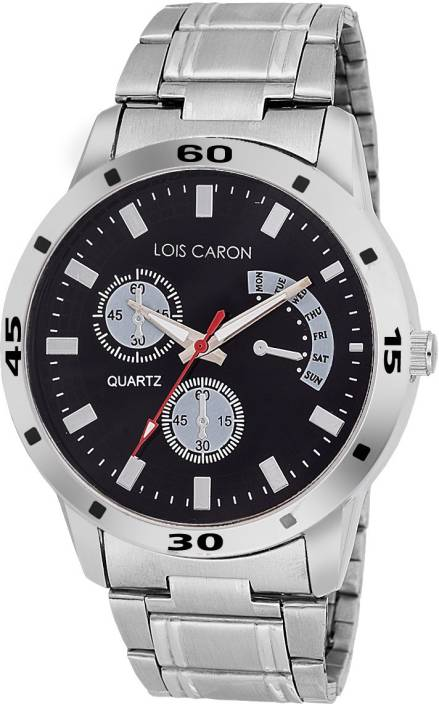 Lois Caron Lcs-4048 Chronograph Pattern BLACK DAIL Watch  - For Men
