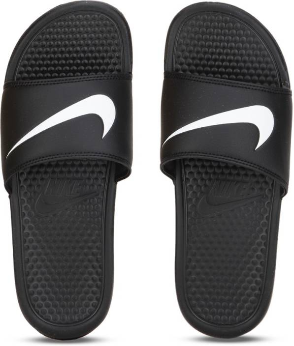 f2f27764d7d0 Nike Benassi Swoosh Slides - Buy Black Color Nike Benassi Swoosh Slides  Online at Best Price - Shop Online for Footwears in India