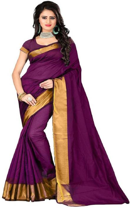 BAPS Applique Kanjivaram Cotton Saree  (Magenta)