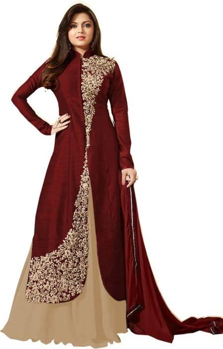 Bipolar Life Silk Embroidered Semi-stitched Salwar Suit Dupatta Material