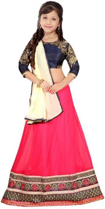 b8368d05fe PURVA ART Girls Lehenga Choli Ethnic Wear Embroidered Ghagra Choli (Pink,  Pack of 1)