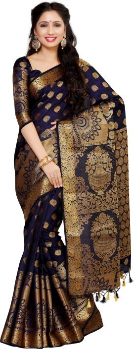 6490094170 Buy Mimosa Floral Print Kanjivaram Art Silk Blue, Gold Sarees Online ...